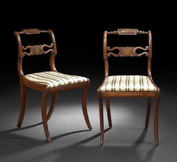22: Pair of Regency Beechwood Sidechairs