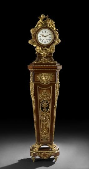 562: Louis XV-Style Gilt-Bronze and Parquetry Clock