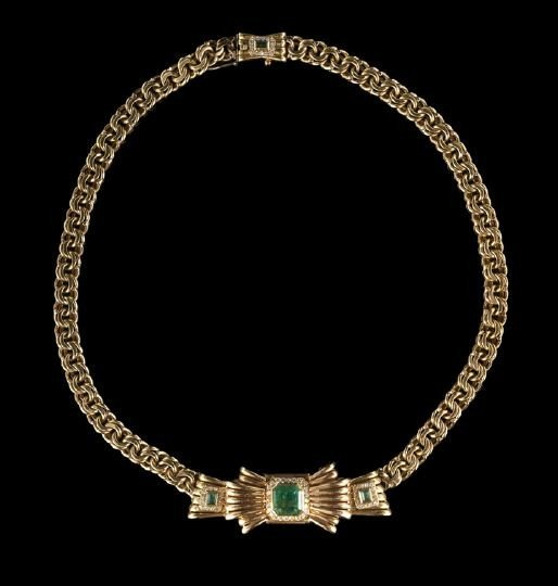839: 18 Kt. Gold, Emerald and Diamond Lavalier