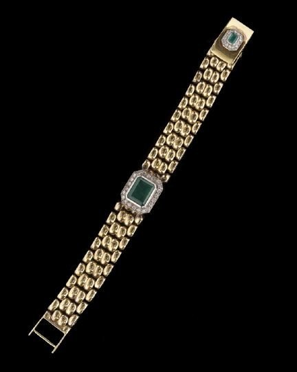 840: 14 Kt. Gold, Emerald and Diamond Link Bracelet