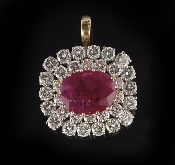 841: 18Kt. Gold, Plat., Ruby & Diamond Pendant/Brooch