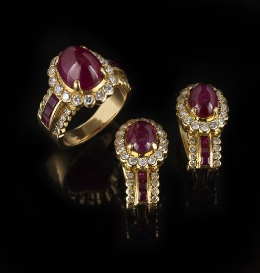 843: 18 Kt. Gold, Ruby and Diamond Ring and Earrings