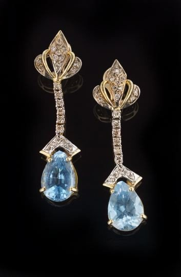 851: 14 Kt. Gold, Blue Topaz and Diamond Drop Earrings