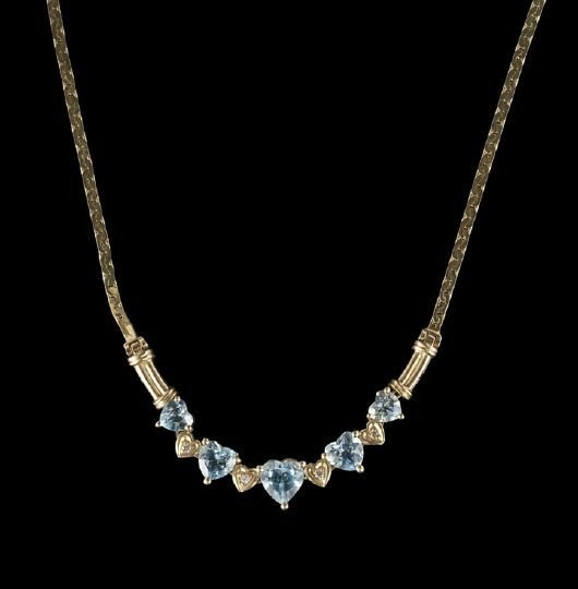 852: 14 Kt. Gold, Blue Topaz and Diamond Necklace