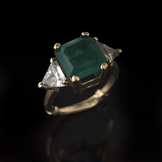 857: 14 Kt. Gold, Emerald and Cubic Zirconia Ring