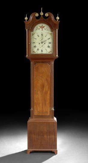 1: Scottish Line-Strung Mahogany Tall Case Clock