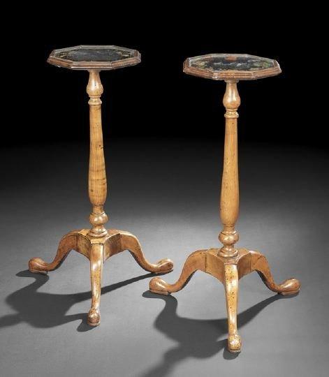 3: Pair of George III-Style Walnut Torcheres,