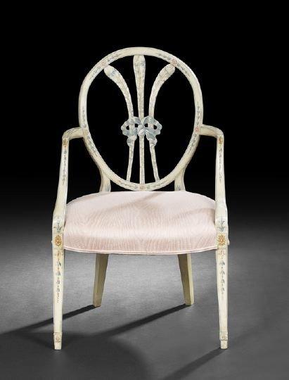 5: George III-Style Polychrome Armchair,