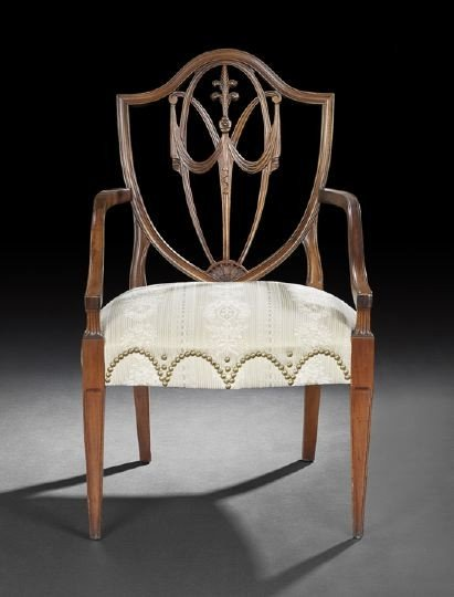 7: George III-Style Mahogany Armchair,