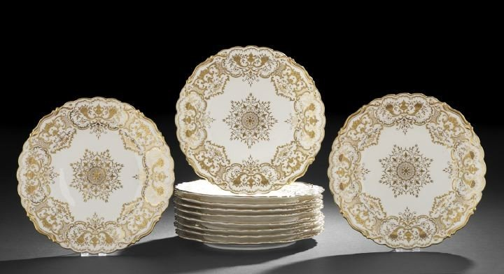 8: Set of Eleven Coalport Gilded Dinner Plates
