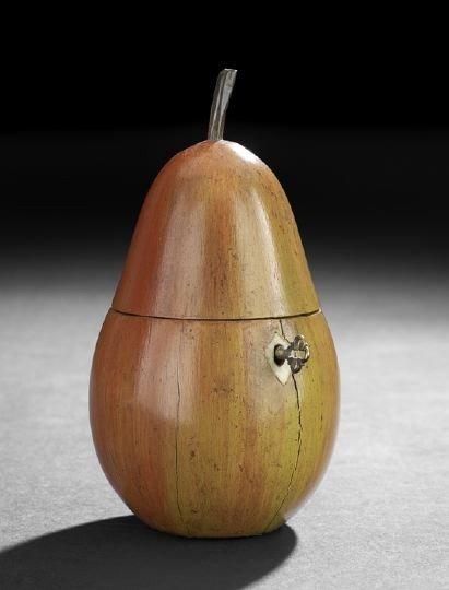 9: George III-Style Polychrome Fruitwood Tea Caddy,