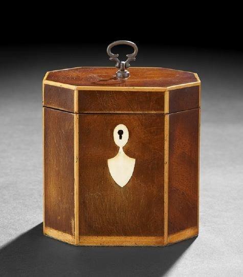11: George III-Style Mahogany Tea Caddy,
