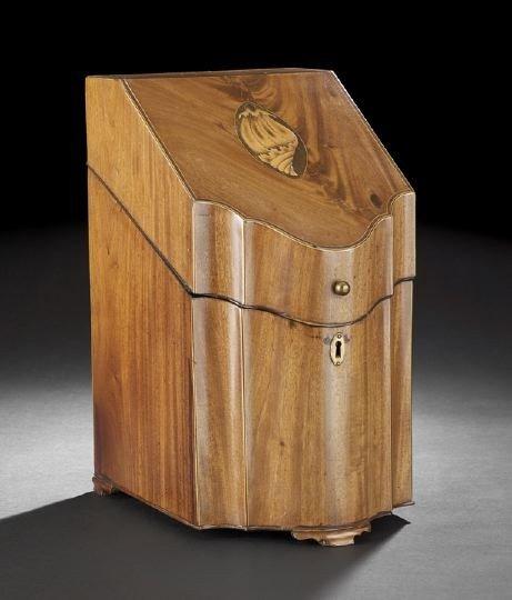 16: George III Mahogany Serpentine-Front Knife Box,