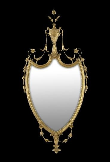19: Adam-Style Giltwood Looking Glass of Shield Form