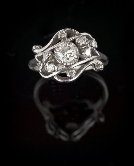 735: 14 Kt. White Gold and Diamond Lady's Ring