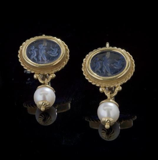 753: Pair of 18 Kt. Gold, Intaglio and Pearl Earrings