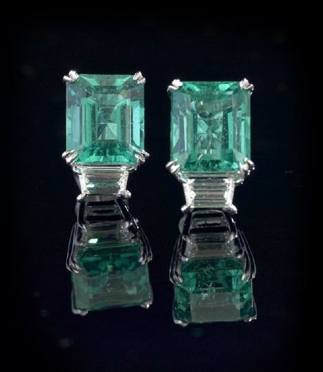 757: Pair of Platinum, Emerald and Diamond Earrings