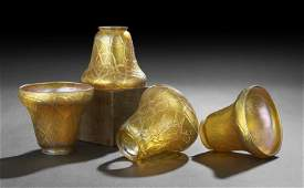1065: Four Gold Iridescent Glass Electric Shades