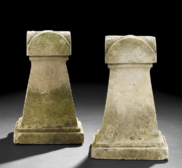 1330: Pair of English Cast Stone Gate Post Finials