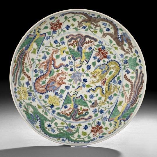 3: Large Chinese Polychrome Enamel Saucer Dish