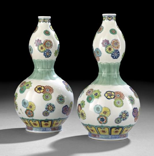 4: Pair Chinese Doucai Decorated Double-Gourd Vases
