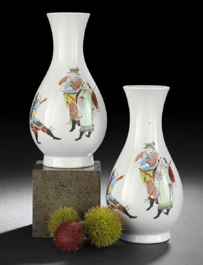 6: Pair Chinese Famille Rose Bottle Vases