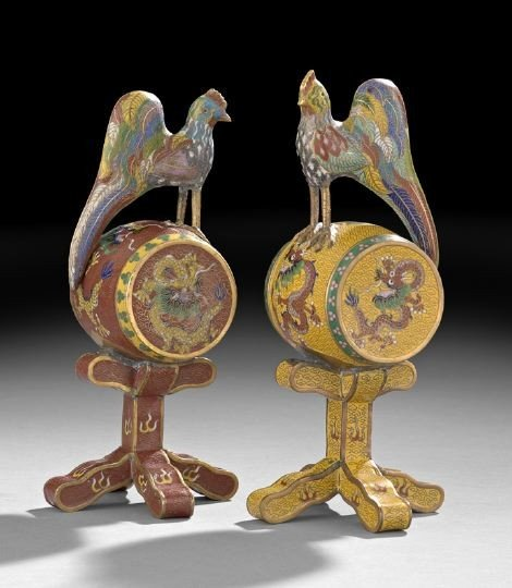 8: Pair Chinese Cloisonne Table Ornaments