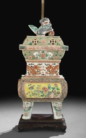 9: Chinese Famille Jaune Porcelain Incense Burner