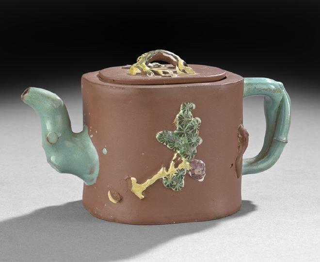 10: Chinese Enameled Yixing Covered Teapot