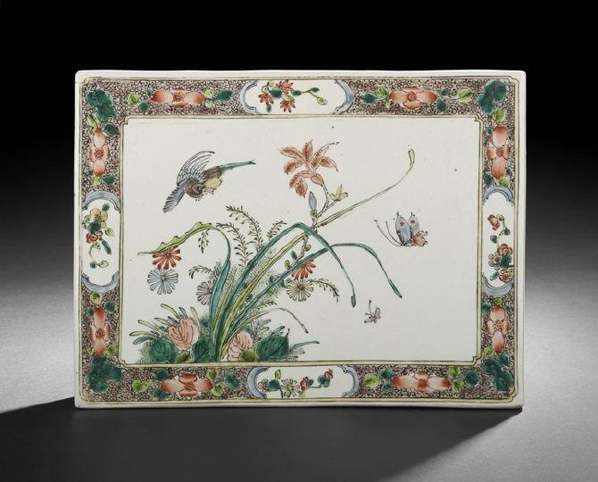 12: Chinese Famille Verte Porcelain Double-Sided Tile