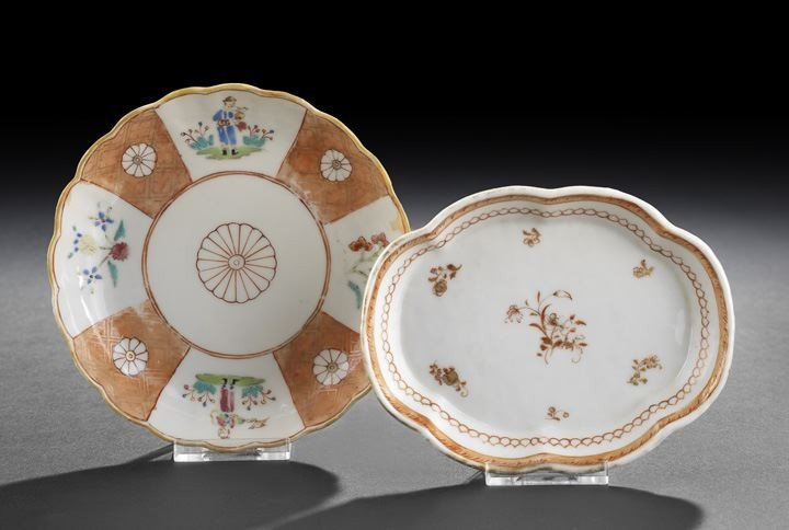 13: Chinese Famille Rose Export Saucer and Spoon Rest