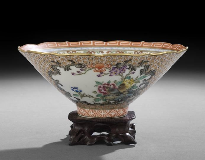 14: Chinese Famille Rose Conical Porcelain Bowl