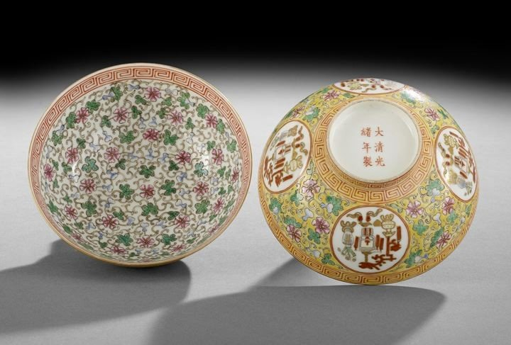 15: Fine Pair Chinese Famille Rose Rice Bowls