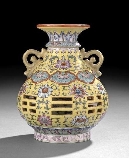 17: Chinese Famille Jaune Rotating Vase
