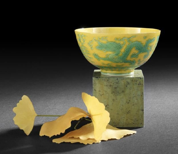 22: Good Chinese Yellow and Green Glazed Bowl