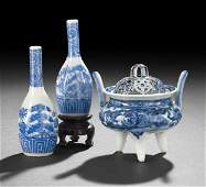 136 Three Japanese Blue and White Porcelain Articles