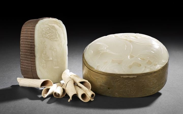 182: Two Chinese Brass Boxes With White Jade Tops