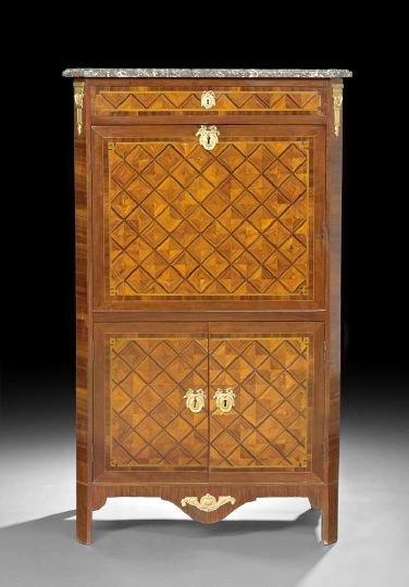 389: Louis XVI-Style Marble-Top Secretaire Abattant