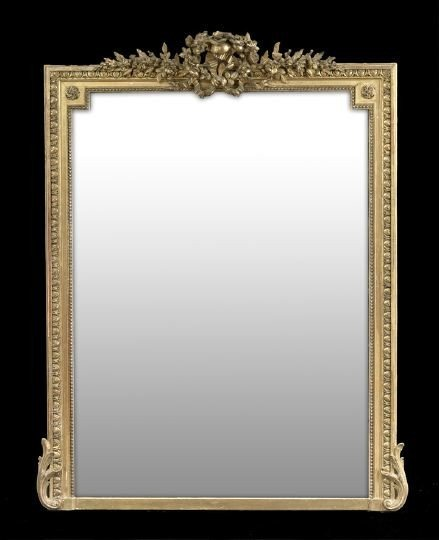 390: Louis XVI-Style Giltwood Looking Glass