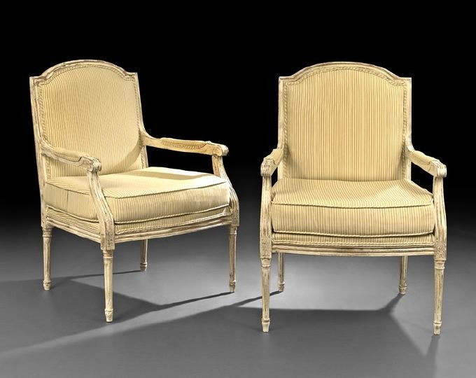 391: Pair of Louis XVI-Style Polychrome Fauteuils