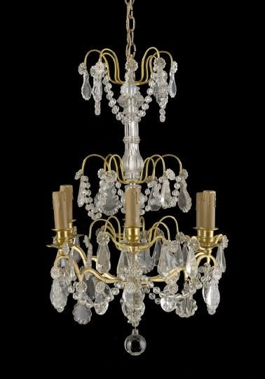 394: French Gilt-Brass-Mounted Cut Glass Chandelier