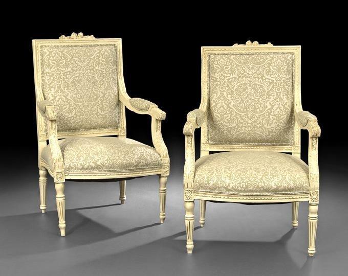 399: Pair of Louis XVI-Style Polychrome Fauteuils