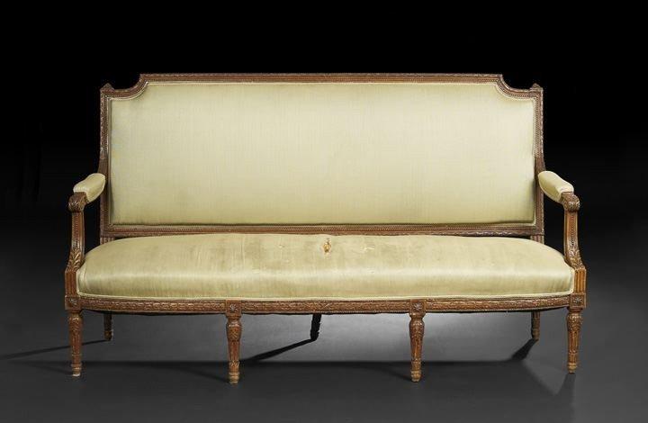 402: Louis XVI-Style Fruitwood Settee