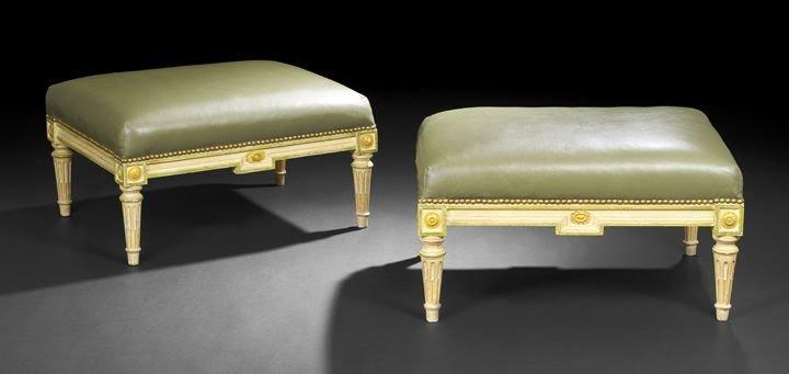 403: Pair of Louis XVI-Style Polychrome Stools