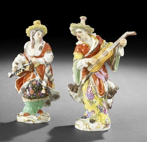 410: Small Pair of Meissen Porcelain Malabar Figures
