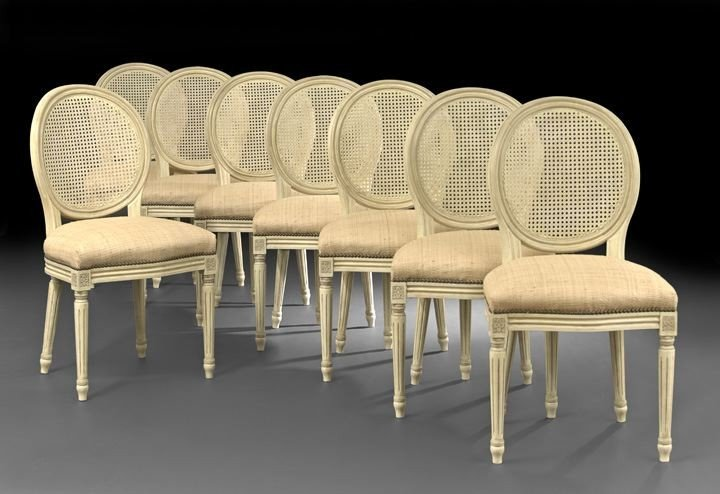 411: Eight Louis XVI-Style Polychrome Side Chairs