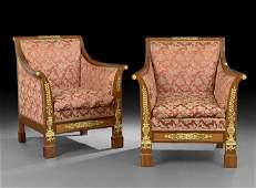 635: Pair of Empire-Style Mahogany Arm Chairs