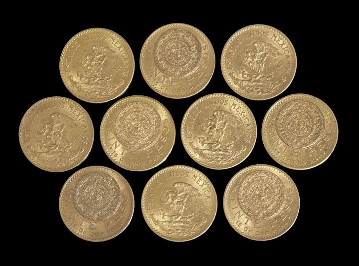 1240: Ten Mexican Twenty Peso Gold Coins
