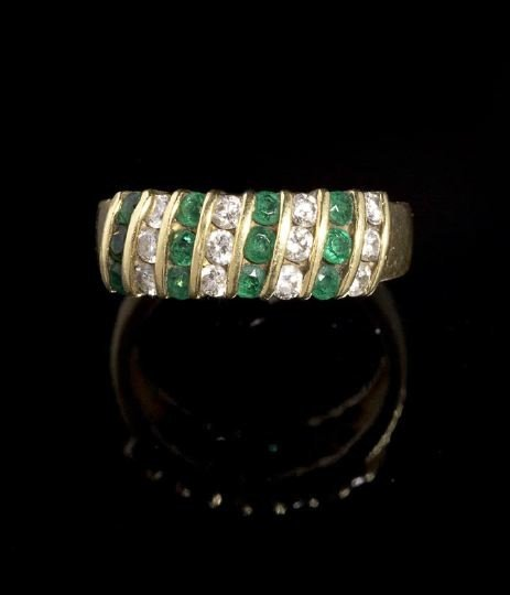 1267: Tiffany 18 Kt. Gold, Emerald and Diamond Ring
