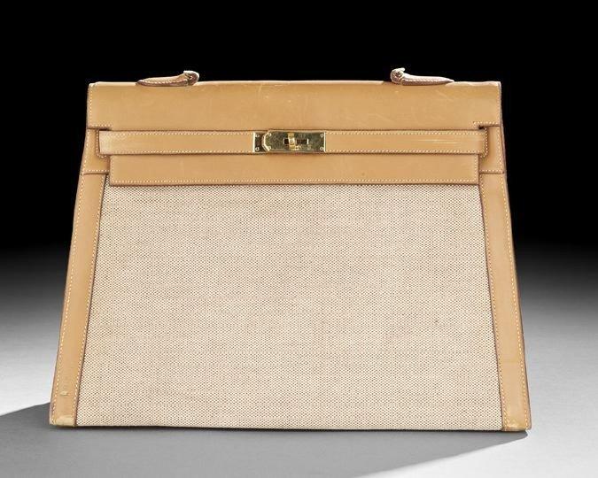 "1404: Hermes, Paris, Box Calf and Linen ""Kelly"" Handbag"
